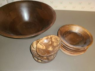 10 pcs  Wooden Salad Bowl  with 9 smaller bowls