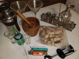 Bar Supplies Martini Glasses  Shaker  Wine Opener  Muddle  Shot Glasses  and other items