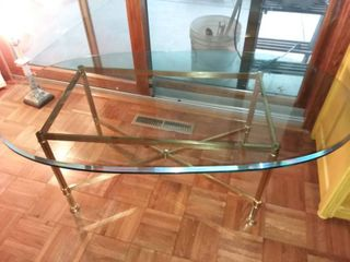 Brass and Beveled Glass Top Coffee Table 17 x 47 x 26 in