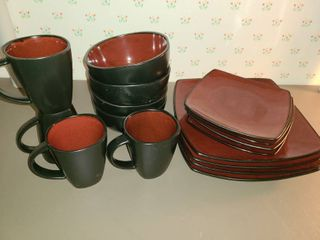 Dinnerware Service for 4ppl  Maroon and Black  4 Plates large and small  4 Bowls  and 4 Mugs