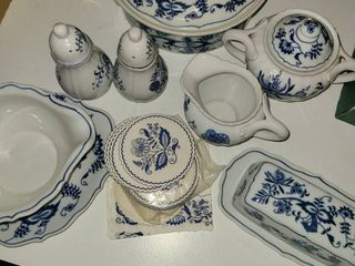 Blue Danube Dinnerware  Serving Dish with lid  Butter Dish  Creamer and Sugsr  Salt and Pepper  and a Gravy Bowl