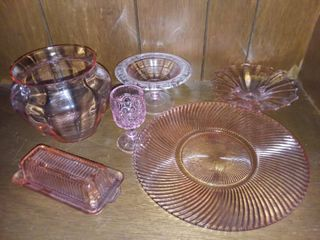 Assorted Pink Glass lot of 6