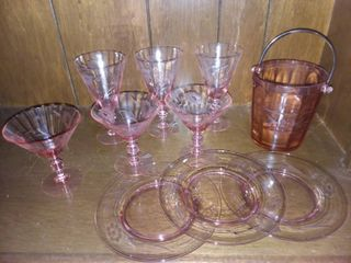 Etched Pink Glass Service for 3