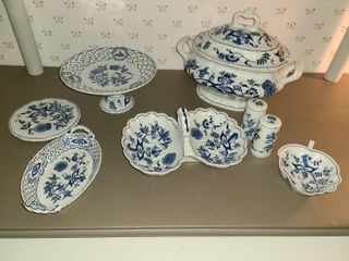 BlUE DANUBE Serving Dishes Soup Tureen  Candy Dishes  Trivet  Salt and Pepper Shakers  and etc