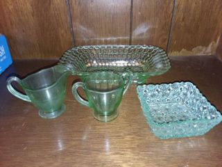 Green Glass lot of 4