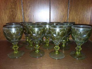 Mini Emerald Glass Goblets lot of 12