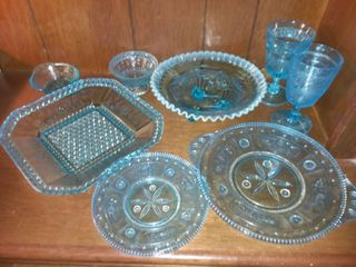 Blue Glass lot of 8