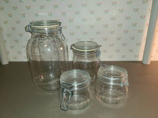 3 Glass Storage Containers with rubber seals