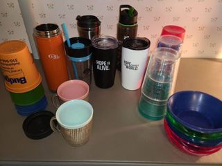 Plastic Cups  Bowls  and Water Mugs