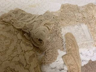 lacy fabric and doilies