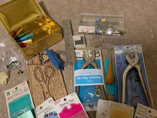 Assorted sewing supplies and tools
