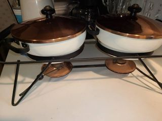 2 Banquet Buffet  Chafing Dishes White and Copper  VERY NICE