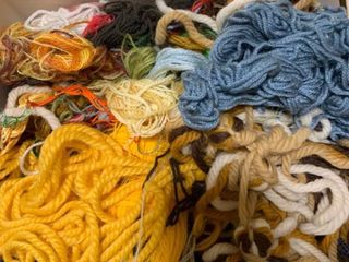 Assortment of threads and yarn pieces