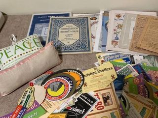 Crosstitch instruction booklets patterns and assortment of advertisements