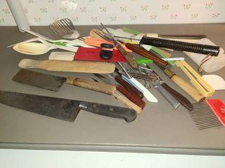 Various Kitchen Utensils  Some Sharp Knives