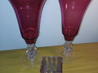Pink Glass Vases 13 in Tall Each