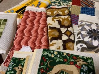 Assorted needlepoint and large hoop