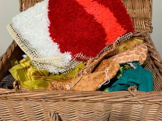 Assorted fabric pieces with basket