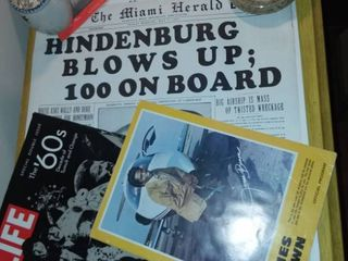 Vintage Newspaper Articles Various Years and Headlines with life Magazine Special Double Issue About the 60s and Assorted Historical Items