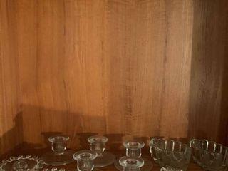 Assorted glass candlestick holders
