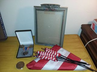 United States Flags with Patriotic Eagle Picture Frame and Various Medals or Medallions