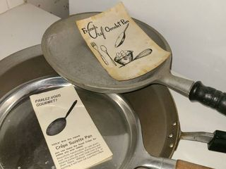 Frying Pans  Crepe Suzertte Pan  French Chef Omelets Pan and another round Frying Pan