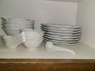 22 pcs  Salad plates and Salad Bowls  With 6 small ladels and 4 pcs  finger bowls