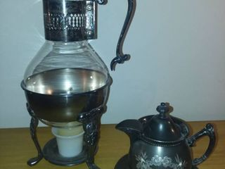Silverplate Warmer and Pitcher with Cramer Dish and Saucer