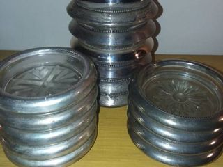 Glass Coasters 13 Sterling Rimmed 4 Silverplate Rimmed