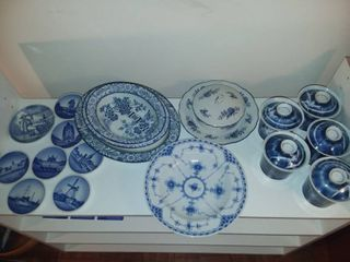 Blue and white Porcelain Dishes and Decor Including Blue Dresden