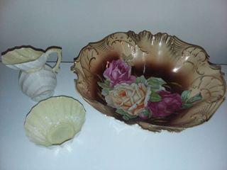 Handpainted German Bowl with Beleek Decor