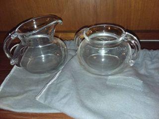 Steuben Glass Creamer and Sugar Dishes