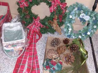 Christmas Wreath with Blue Heart Wreath and Assorted Decor