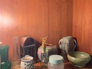 Roseville vase and assorted vases and home decor