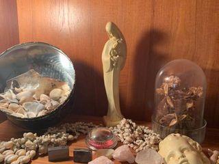 Assorted home decor shells and rocks