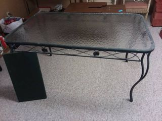 Wrought Iron and Glass Top Table 28 x 54 x 32 in  with 4 Chairs