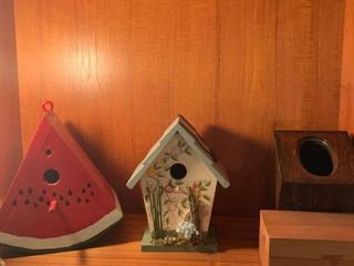 Assorted boxes and bird houses