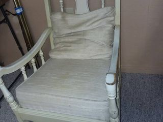White Wood and Upholstered Chair