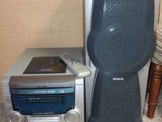 Aiwa Difital Audio Stereo CD 3 Changer Dual Cassette AM FM Tuner with 2 Side Speakers and Remote Control