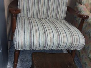 Wood and Creme Upholstered Reading Chair with Wood Footstool