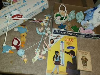 VINTAGE TOYS  HAND PAINTED MOBIlES BY  IRMI  Mister Roger s Neighborhood GROW CHART  Book  lITTlE FUR FAMIlY 2 BEANIE BABIES and other items