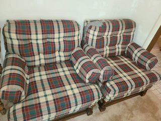 2 Plaid Chairs both have damage