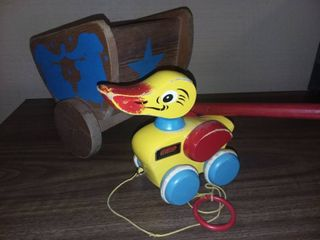 Vintage Brio Pull Along Duck Toy with Playskool Pull Behind Wood Cart