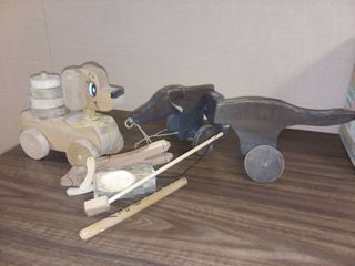 Vintage Wooden Dog Toys and Assorted Wood Toys