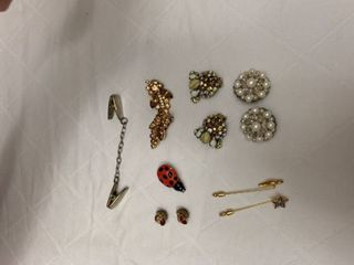 ladies jewelry three clip earrings  two stick pins  three ladybug pins and a sweater holder