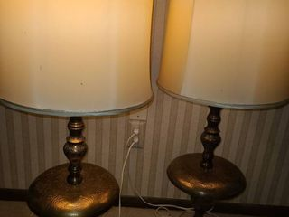 2 Brass Table Top lamps   with very RETRO lamp shades  One shade has a rip on inside