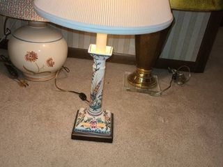 3 Table Top lamps  2 with painted on FlOWERS and the other Slight Brass