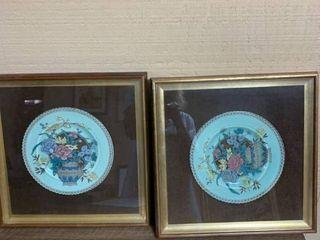 Framed plates 13 x 13