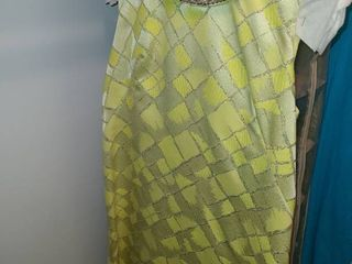 lADIES RETRO DRESS  lime Green with a BEADED Collar  Size 12