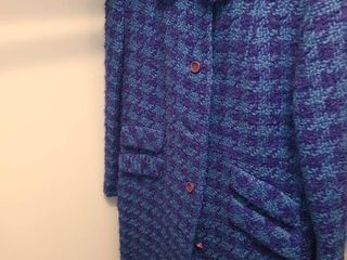 lADIES RETRO COAT  Blue Checkered  Inner lined   Wool Coat  Size 10  12